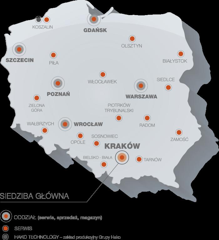 Mapa serwisów Hako